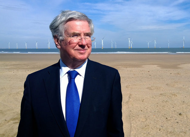 Michael Fallon at EDF wind farm Teesside credit DECC
