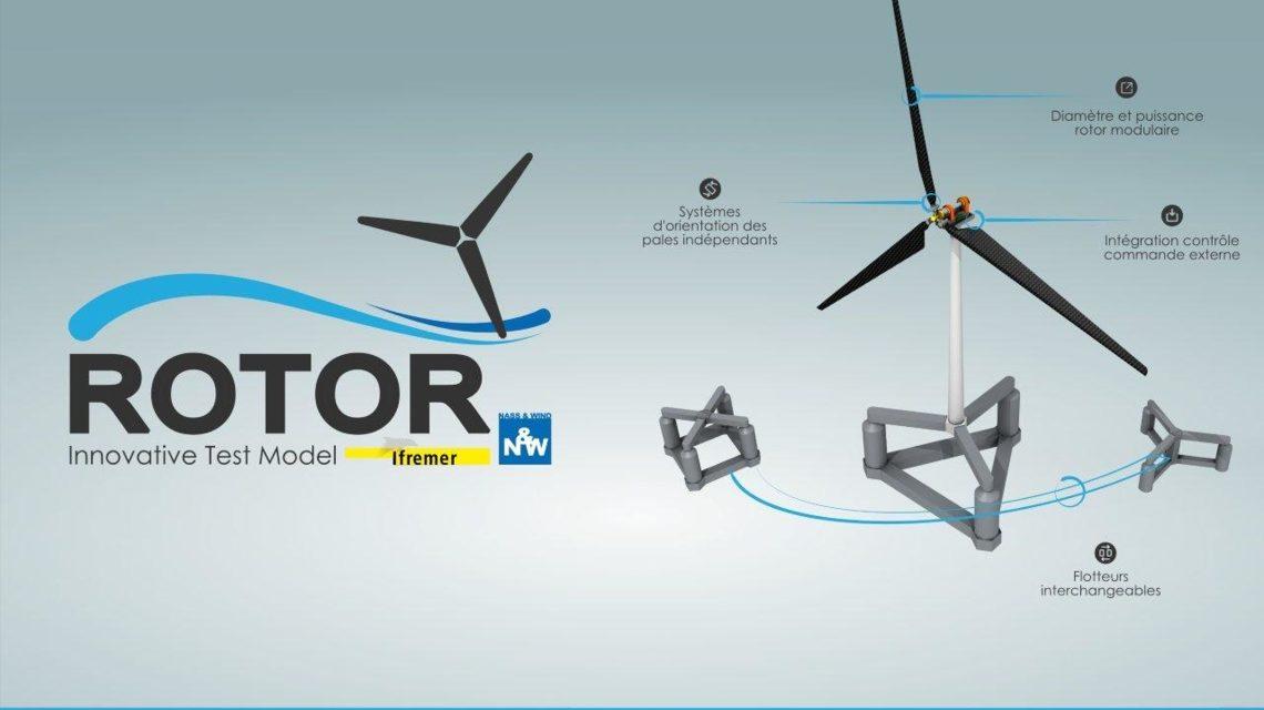 Nass et Wind et Ifremer unissent leurs compétences  pour tester les concepts d'éolienne flottante en bassin.