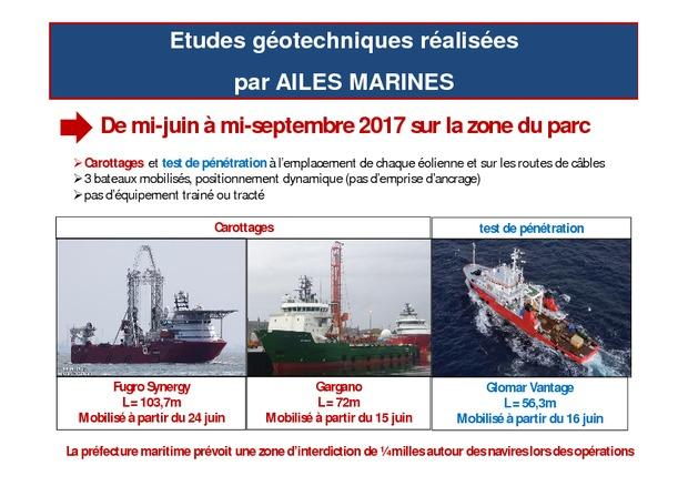 3 navires Fugro sur site en baie de Saint Brieuc