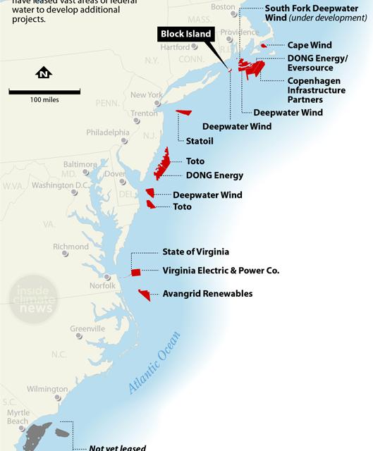 Dominion Energy Virginia et DONG Energy au large de la côte de Virginia Beach.