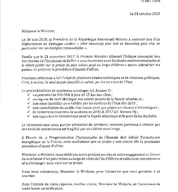 Les élus de Charente Maritime et d'Oléron publient la lettre contre la PPE