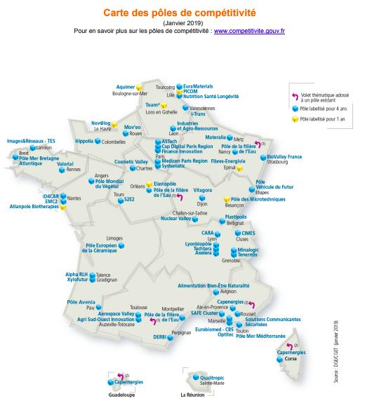 56 Pôles de compétitivité labellisés pour 2019-2022