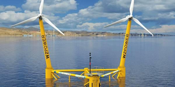 W2Power, l'éolienne flottante à double mats est au centre de test PLOCAN