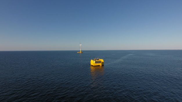 """The prototype of the new autonomous WAVEGEM® platform moored at sea"""