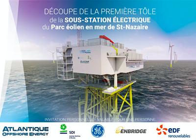Parc éolien de Saint-Nazaire : Découpe de la première tôle de la sous-station électrique par la BU des Chantiers de l'Atlantique