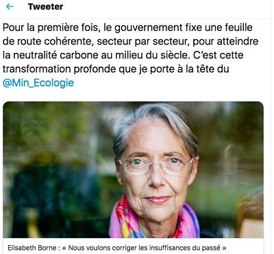 PPE et Stratégie carbone: Elisabeth Borne tweet : «Nous voulons corriger les insuffisances du passé»