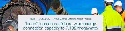TenneT augmente la capacité de connexion de l'énergie éolienne offshore à 7 132 MW