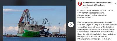 Deme : Accident lors des essais de la grue sur le navire Orion