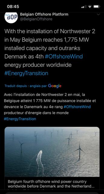 La Belgique devance dorénavant le Danemark pour les parcs éoliens en mer