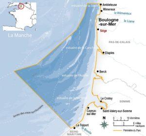 Carte de la zone du parc naturel marin des estuaires picards et de la mer d'Opale