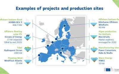 Commission européenne : Communication présentée le 19/11/2020 pour atteindre une capacité installée de 300 GW d'énergie éolienne en mer et 40 GW d'énergie océanique en 2050.