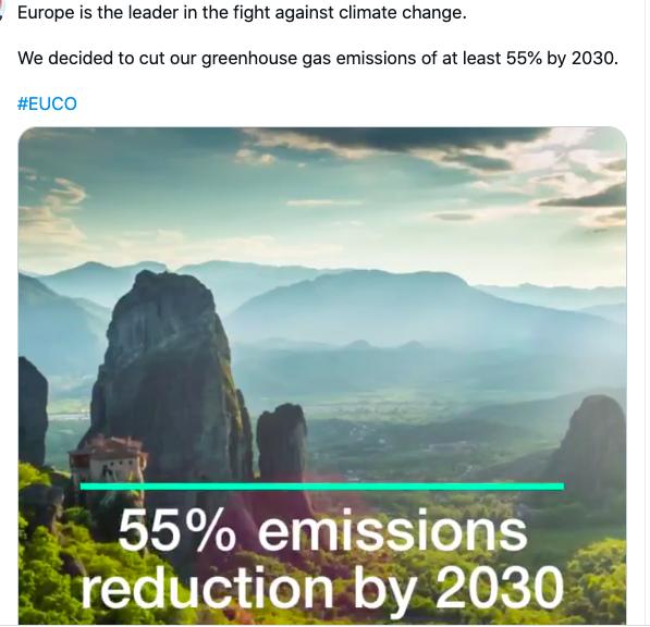 Climat: accord européen pour une réduction d'au moins 55% des émissions de gaz à effet de serre d'ici 2030