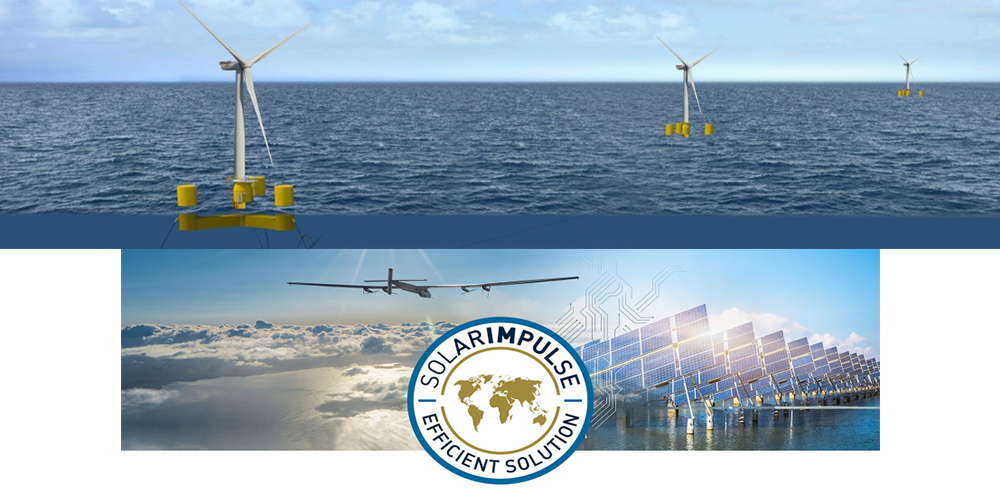 """Naval Energies floating solution for offshore wind turbines has been awarded the """"Solar Impulse Efficient Solution"""" Label"""