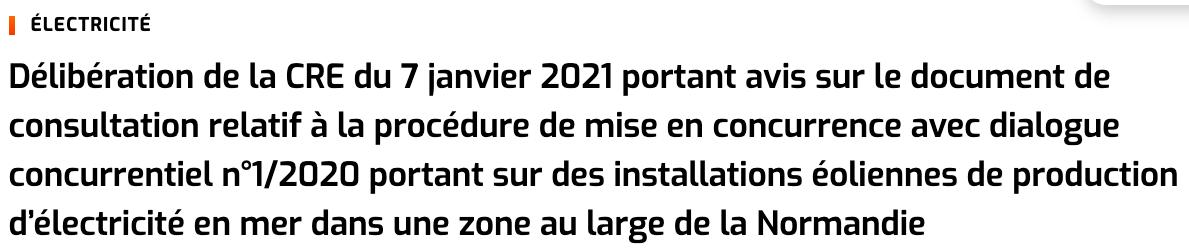 Parc éolien en mer de Normandie : La CRE a émis en avis favorable pour lancer l'avis de la procédure de dialogue concurrentiel