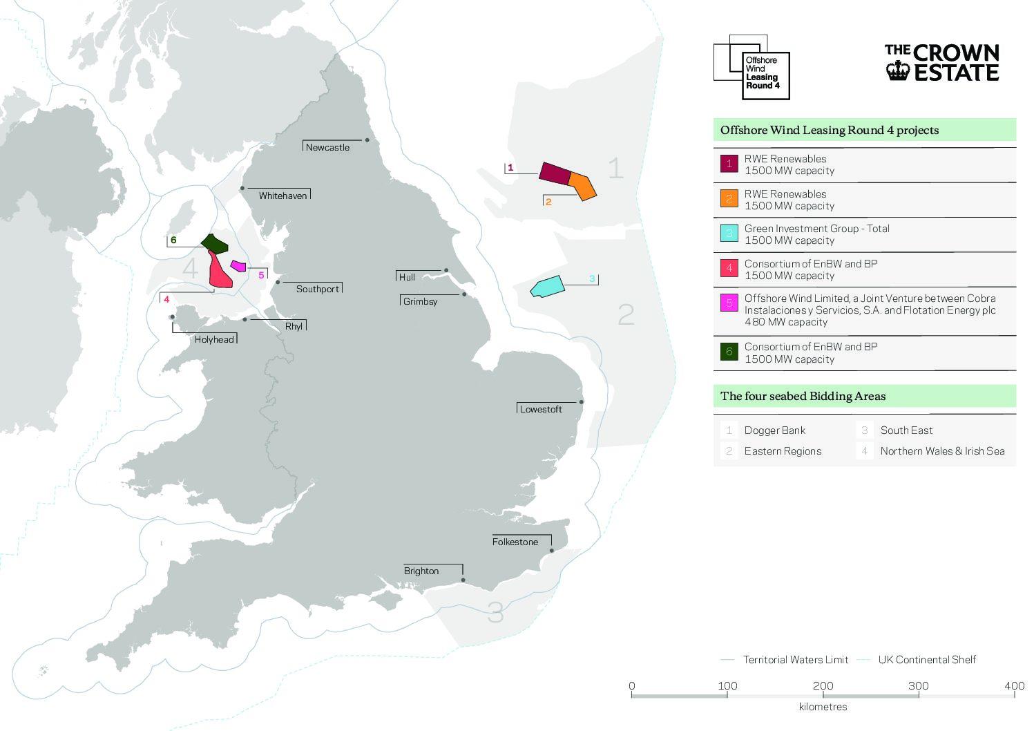 Royaume-Uni : les six nouveaux grands projets éoliens retenus lors de l'Offshore Wind Leasing Round 4