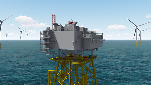 Chantiers de l'Atlantique and its partners GE's Grid Solutions and SDI will build the electrical substation for the Calvados offshore wind farm
