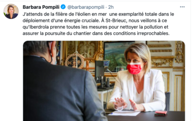 Pollution du navire de Van Oord à Saint-Brieuc: Iberdrola convoqué par Barbara Pompili