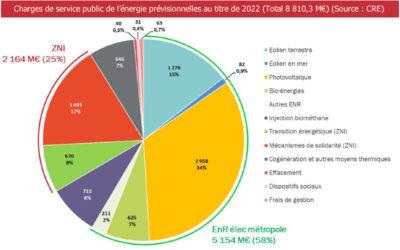 La CRE publie son évaluation des charges de services public de l'énergie pour l'année 2022